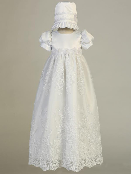 Willow Christening Gown, Satin bodice with embroidered tulle long gown with bonnet. Made In USA