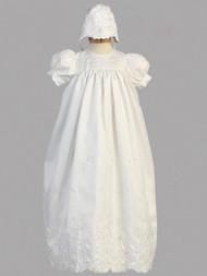 Embroidered Shantung Long Christening Gown. Bonnet included.  Made in the USA.