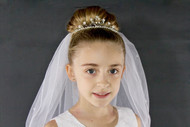 Tiara veil with rhinestone circlet base embellished with pearls, crystal flowers and more. 2 layers of tulle.