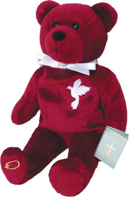 """9"""" Tall Bear has Holy Spirit Dove on his upper front and is holding the Holy Bible."""