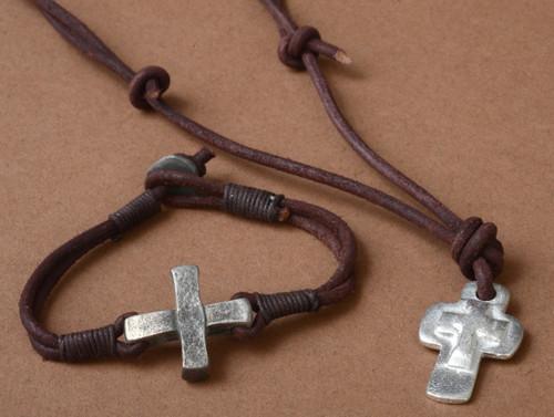 Triple Cross Pendant. Metal Cross on Leather Cord. Bracelet sold separately Item 58817
