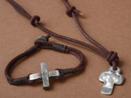 Triple Cross Pendant. Metal Cross on Leather Cord. Bracelet sold separately Item 58817