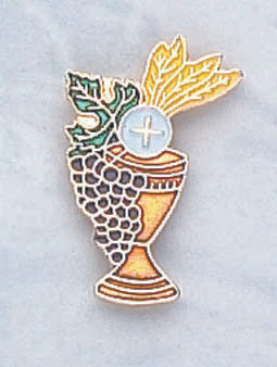 """Gold-plated Chalice w/Enameled Wheat & Grapes. 3/4""""W x 1 1/8""""H. Individually Carded"""