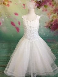 Give your little girl the highest quality dress for her special day! Our dresses are made with the finest materials. Our dresses are decorated with the highest-quality embellishments. Custom made First Communion dresses. Long, short, and sleeveless communion dresses. With our collection of Christine Helene's Signature/Angel custom communion dresses, you are assured that your child's first communion is truly a special occasion. This dress is guaranteed to make your special girl shine. It has short sleeves, and is made with the highest quality fabric and crystal embellishments at the waist of the dress. What's included: Diamond White Organza Diamond White French Net Diamond White Bridal Satin Embroidery Pearls Sequins Crystals Sized Girls 2-12NL We pride ourselves in helping make your child's first communion the best it can be. Please call us at 1.800.523.7604 for verification of items in stock as they are selling quickly! No returns or exchanges!