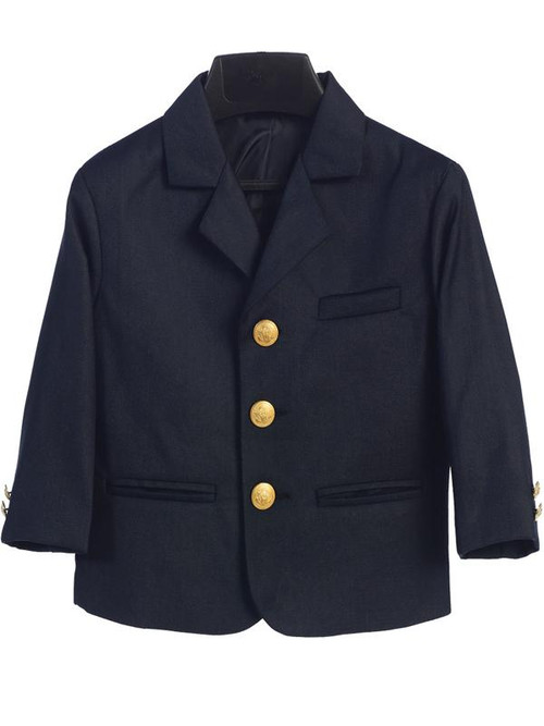 Navy Blue Boy's Blazers is  made of a high quality poly/rayon blend.  Made in the USA