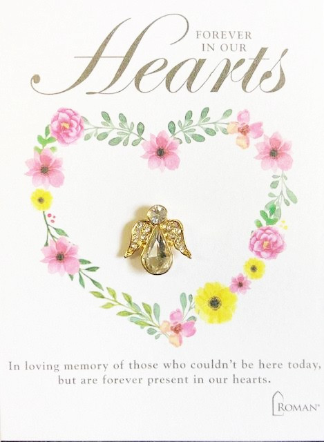 """Bereavement Angel Pin.  """"In loving memory of those who could't be here today, but are forever present in our hearts."""" The Bereavement Angel Pin is made of metal and glass."""
