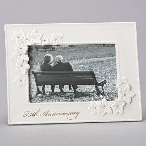 """50th Wedding Anniversary """"Love in Bloom""""  Porcelain 5X7 Photo Frame.  This 50th anniversary Photo Frame holds a 4"""" x 6"""" photo.  Dimensions of the 50th Wedding Anniversary Frame are 8.5""""W 6.5""""H 0.75""""D"""