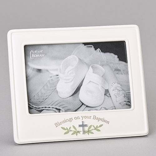 """Blessings on Your Baptism 6""""H Picture Frame! This blessings picture frame measures 6"""" in height. The blessings baptism frame holds a 4""""X 6"""" picture. The picture frame is made of a resin/stone mix.  """"Blessings on your Baptism""""  is written across the bottom of the frame."""