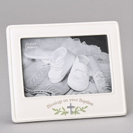 "Blessings on Your Baptism 6""H Picture Frame! This blessings picture frame measures 6"" in height. The blessings baptism frame holds a 4""X 6"" picture. The picture frame is made of a resin/stone mix.  ""Blessings on your Baptism""  is written across the bottom of the frame."