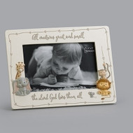 "6.25""H ""All Creatures Great and Small, The Lord God Loves Them All"" photo frame.  The photo frame has a giraffe and an elephant on the left side and a mouse, lion and a monkey on the right side of the All Creatures Great and Small Photo Frame. Frame is made of a resin stone mix. The 6.25"" photo frame holds a 4"" x 6"" photo."