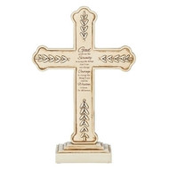 """8.25"""" Serenity Prayer Standing Cross.  This 8.25"""""""" standing cross has the Serenity Prayer written on it in its entirety. There are decorative  leaves on the outside edges of the cross.  Cross is made of a resin/stone mix."""