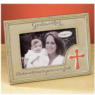 """Godmother Photo Frame. The Godmother Photo Frame has a cross on the bottom right side of frame. The words """"Chosen with love to guide me in faith"""" is written across the bottom of the photo frame. Godmother Photo Frame measures 6.75""""W x 5""""H. This resin photo frame holds a 2.75"""" x 4.5"""" photo and has an easel backer for easy standing up."""