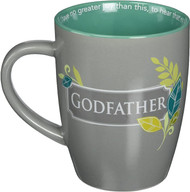 "Godfather Thank You Mug. The Godfather Thank you mug has a cross with leaves and athe words ""Thank you, Godfather, for being a loving example of a living faith.""  The scripture on the rim of cup reads; ""I have no greater joy than this, to hear that my children are walking in the truth. ~ 3 John 1:4. Mug stands 4.13""H and hold 12 ounces. It is microwavable and dishwasher safe. The Godfather Thank You mug has a matte finish on the outside with a glossy inside."