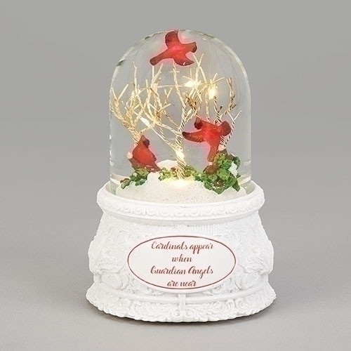 """Musical Led Dome with Cardinals.  The tune played on the piece is """"We wish you a Merry Christmas plays"""" This LED Musical  Dome with Cardinals in Trees Ornament  is made of glass. The words """" Cardinals appear when Guardian Angels are near"""" appears on the base. Glass Dome is bullet shaped. Dimensions are: 6.3""""H 4.25""""W 4.25""""D"""