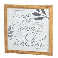 "Serenity Wall Plaque. The Serenity Wall Plaque is made of medium density fiberboard. The Serenity Prayer is framed in an 11.75"" x 11.75"" frame."