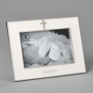 """Baptismal Frame with Cross.  Baptismal Frame is made of a zinc alloy and is lead free.  The Baptism Frame with Cross is 6""""H. There is a cross at the top and the word Baptism across the bottom. The baptism frame holds a 4""""x 6"""" photo"""
