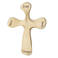 """4.25"""" Comfort Cross. Dimensions: 3"""" W. x 4 1/4"""" H. x 3/4"""" D. the words Pray, Hope, Faith and Courage written on the cross."""