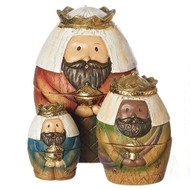 """9 Piece set of 6"""" Nativity Nesting Box. Holy Family, the Three Kings and the Shepherd and Sheep. Dimensions: 5.71""""H x 3.74""""W x 4.13""""L Materials: Resin/Dolomite"""