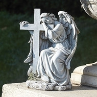 """Angel Leaning on a Cross. This 10""""H Angel Leaning on a Cross Garden Statue is made of a resin/stsone mix."""