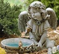 "11"" Solar Angel Birdbath, Outdoor statue . Dimensions: 10.75""H x 14""W 9""D . Resin/Stone Mix. Weight is approx. 6lbs."