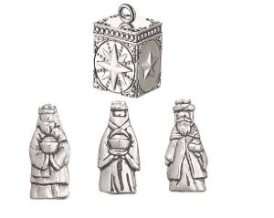"""""""Three wise men inside this prayer box bring gifts to honor his birth. They spread the magic of the season with hope for peace on earth.""""Prayer Box measures approximately 5/8"""" wide x 1"""" high. Wise Men Charms measure 5/8"""". Secure magnetic closure. This Prayer Box may be carried in a pocket, held or placed on a shelf."""