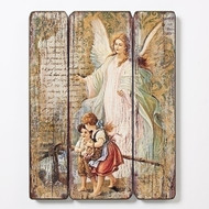 "15""H. Three panel medium density fiberboard depicting the Guardian Angel"