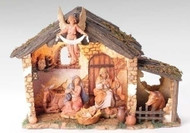 "Nativity Scene consists of a 6 piece - 5"" Centennial Figurines and Lighted Stable. Exclusive Inspirational Fontanini™ Nativity Set. Can be used on a table top or displayed under your tree to add the perfect touch to your holiday decorating. Nativity is meticulously crafted with unique detailing and coloring. Stable Dimensions: 10"" H X 14"" W X 6.5"" D. Additional pieces can be ordered"