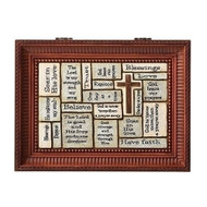 "Crossword Brown Music Box. Great Confirmation gift!! Lid of the box has words of Faith written on it. Music Box plays How Great Thou Art.  Measurement: 3""H x 6""W x 8""D. Made of Plastic and Metal"