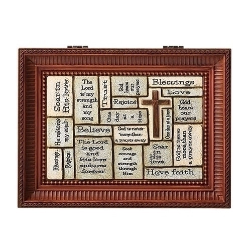 """Crossword Brown Music Box. Great Confirmation gift!! Lid of the box has words of Faith written on it. Music Box plays How Great Thou Art.  Measurement: 3""""H x 6""""W x 8""""D. Made of Plastic and Metal"""