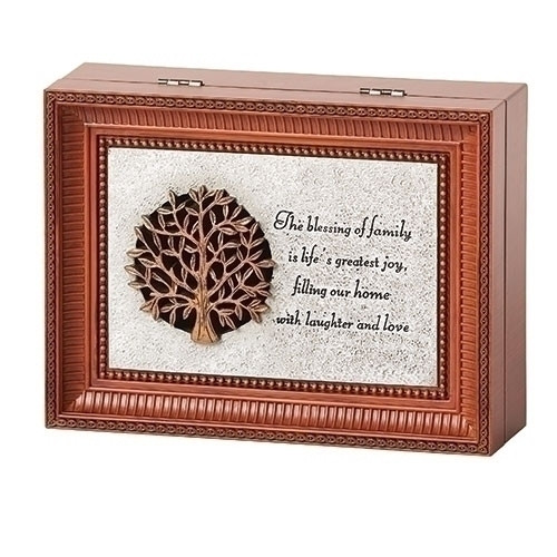 """Family Blessing Music Box.  The lid has the Tree of Life on it with the words """"The blessing of family is life's greatest joy, filling our home with laughter and love.""""  Music Box plays Fur Elise. Measurement: 3""""L X 6""""W X 8""""D. Made of Plastic and Metal"""