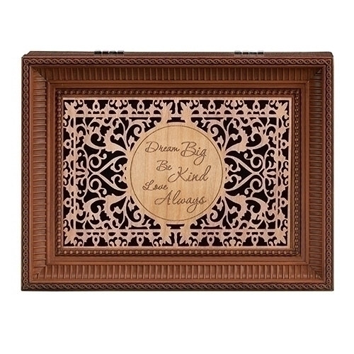 """""""Dream Big, Be Kind, Love Always"""" Wood Cut Laser Music Box. Music Box plays Hungarian tunes.  Measurement: 8""""L X 6.125""""W X 2.75""""H. Made of Plastic and Metal"""