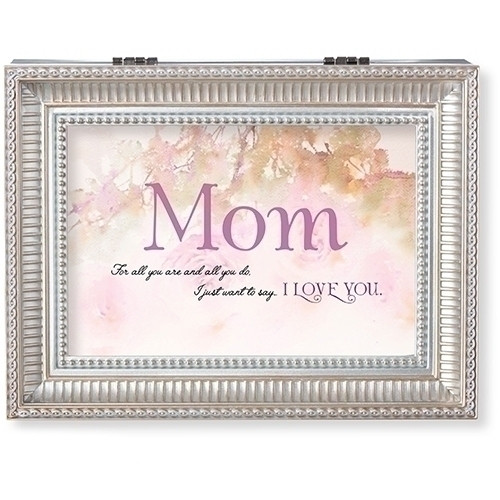 """Mother's Day Music Box.  Lid of the box has words """"Mom, for all you are and all you do, I just want to say~I LOVE YOU"""" written on it. Music Box plays Clair de Lune."""".  Measurement: 8""""L X 6.125""""W 2.75""""H. Made of Plastic and Metal"""
