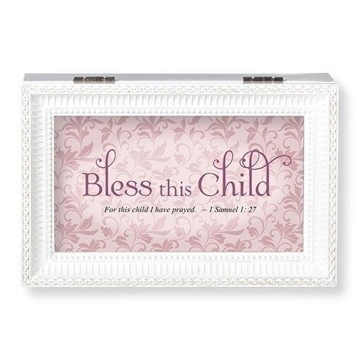 """""""Bless This Child White"""" and Pink or Blue Music Box.  The lid has the words """"Bless this Child~For This Child I have Prayed.""""  Music Box plays """"Jesus Loves Me."""" Measurement: 6.125""""L X 4""""W X 2.625""""H. Made of Plastic and Metal"""
