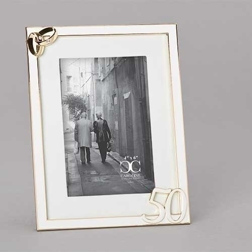 """8""""H"""" 50th Wedding Anniversary Photo Frame. 50th Wedding Anniversary Photo Frame stands 8""""H and holds a 4"""" x 6"""" photo. Two intertwined gold wedding bands are on the photo top left of the 50th Wedding Anniversary Photo Frame.frame with the number 50 on the bottom right of frame.  Frame is made of a lead free zinc alloy."""