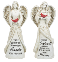 "Memorial Angel Holding a Cardinal Statue. Memorial Angel Statues are made of a resin/stone mix. Memorial Angel Holding Cardinal Bird measures: 3"" D. x 4 1/2"" L. x 10 3/4"" H. Choose a saying: ""There is comfort in knowing Angels hold you close"" or ""When a Cardinal appears in your yard, It is a visitor from Heaven"".  Please make selection when checking out."