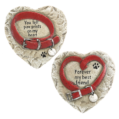 """Pet Memorial Heart Stones. Pet Memorial Heart Stones are made of cement. Memorial stones measure: 51/2"""" W. x 1/2"""" D. x 55/8"""" H.  Choose """"You left paw prints on my heart"""" or """"Forever my Best Friend"""" Memorial Pet Stone."""