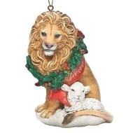 """Christmas Ornament ~ Lion with Wreath and Lamb . Measurements: 3.937""""H 2.755""""W 2.362""""D. Made of a Resin/Stone Mix"""