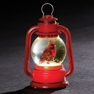 """3.5""""H Led Cardinal Lantern Ornament. Cardinal LED Ornament measures: 3.5""""H 2.5""""W 2""""D. Battery inlcuded. Made of plastic"""