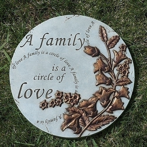 """A Family of Love Round Stepping Stone.  This Family of Love Round Stepping Stone is 9""""H. The stepping stone is adorned with flowers and the words """"A family is a circle of love"""" is written in several places on the stepping stone."""