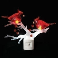 "LED Cardinals on a Branch Night Light. LED Cardinals on a Branch Night Light is a plug in and made of plastic. Cardinals on a Branch Night Light measures 5.5""H."