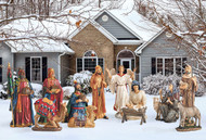 A new way to display a beautiful detailed and colorful outdoor nativity set. This is an all metal, 12 piece set with the tallest figure measuring 51 inches. It is designed to last for years and to be easy to ship and store. The all metal pieces are printed with high resolution paint that resists fading. The super high resolution images painted on flat metal give the remarkable illusion of pieces being three dimensional and the details - especially the faces - show with such clarity that the Christmas Story is truly brought to life. Set up is a snap and each piece comes with durable, three pronged stakes to anchor them in the ground. In addition, each piece comes with brackets intended to secure them in the wind. Also available in a 4 piece Holy Family and Angel set (RLN059).