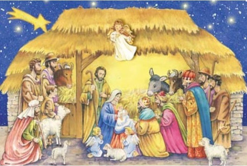 """This 14"""" x 11"""" Advent calendar will help prepare your children for Christmas.  The calendar depicts the Holy Family being surrounded by the Magi and the Shepherds. The Holy Family Adavent Calendar is accentuated with glitter.  Each of the 24 windows opens to reveal a special picture that illustrates the Bible verses printed inside the windows. These Bible verses help kids follow along with the story of the Nativity. This is a great way for kids to learn about Christmas and count down the days.  Advent Calendar Size is : 8.25""""x11.75"""" and is very easy to hang."""