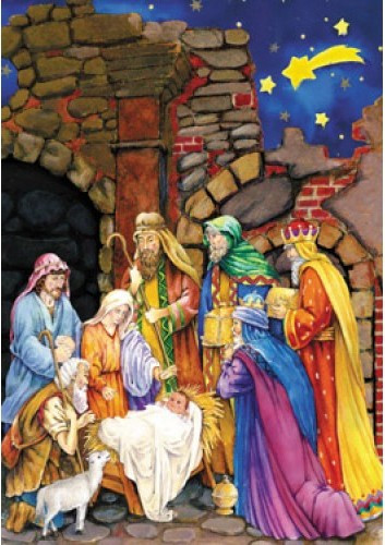 """This Traditional Nativity Scene Advent calendar will help prepare your children for Christmas.This Advent calendar is accented with glitter, making the detailed illustration even more beautiful. Each of the 24 windows opens to reveal a special picture that illustrates the Bible verses printed inside the windows. These Bible verses help kids follow along with the story of the Nativity. This is a great way for kids to learn about Christmas and count down the days.  Advent Calendar Size is : 10"""" x 13.75"""" and is very easy to hang."""