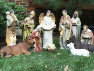 """This 12-piece nativity set is perfect for indoor or outdoor use. The pieces are made with fiberglass-resin construction, hand painted, and measure an average of 27 inches. This set includes the holy family, a crib, three wise men, shepherd, angel, donkey, cow, and a sheep. While the set is durable, it is recommended to use a stable or cover for outdoor use. This is the perfect nativity set for your church.  Extra animals are available 17"""" duck (53378), 17"""" rooster (53379), 25"""" goat (53375), 42"""" standing camel (53368), 29"""" elephant (53389), or Seated camel (53318)"""