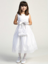 This Corded Tulle Communion Dress is embroidered and sequined. A large organza bow is on the back with zipper closure. Dress is tea-length. Made in the USA. Accessories sold separately.