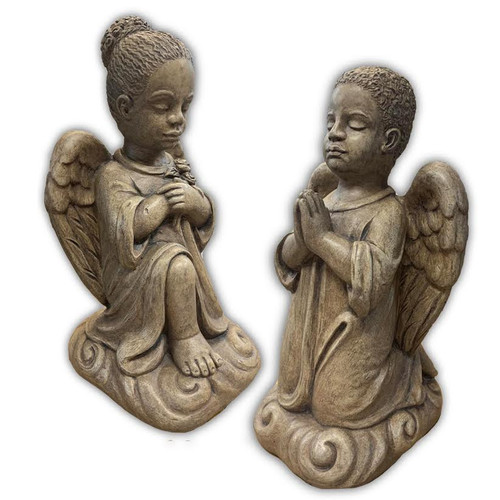 """African American Cement Outdoor Statue.  Praying Children Angel ~ Boy or Girl  Meausurements:   H: 13.50"""", BW: 6"""" BL: 7"""", Wt: 15 lbs. Wingspan is 8"""" Handcrafted and made to order...Allow 4-6 weeks for delivery.  Made in the USA.  Boy:  1304  Girl: 1311"""
