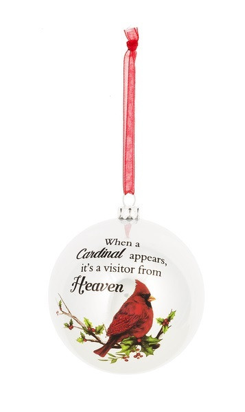 """Plastic 3"""" Ornament with Cardinal - """"When a Cardinal appears, it's a visitor from Heaven."""" Each ornament with a printed enclosure card. Each ornament comes with a 3"""" red organza loop for easy hanging."""