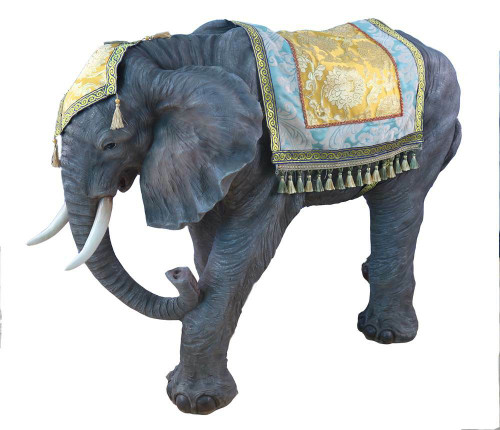 """This beautiful 53""""H elephant complements the 39"""" Heaven's Majesty Nativity Set. The elephant is made of fiberglass and resin. The elephant is suitable for indoor and outdoor use."""