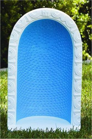 """24"""" Round Embossed Dot Grotto for 18"""" Statue. The cast stone round embossed dot grotto is beautifully and simply detailed. The grotto comes in two colors. You can choose natural cement coloring or detailed stain that includes a blue background and white trim. Grotto is handcrafted and made to order. Allow 4-6 weeks for delivery Made in the USA H: 24"""", BW: 13.5"""", BL: 9"""" Weight: 52 lbs Holds an 18"""" statue"""