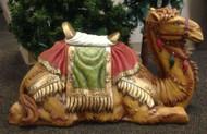 Large Nativity camel with detailed blanket and saddle stool.
